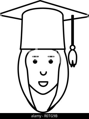cartoon graduate happy woman with graduation gown and hat