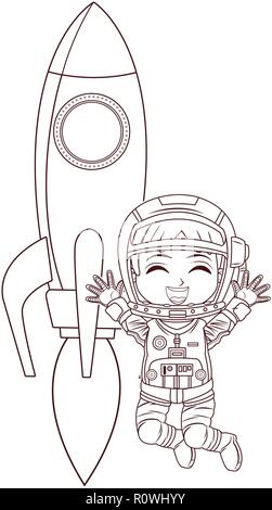 astronaut girl jumping rocket Stock Vector Art