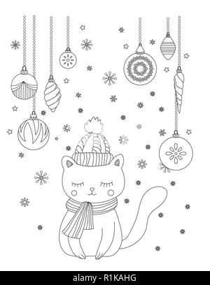 Christmas coloring page for kids and adults. Cute snowman