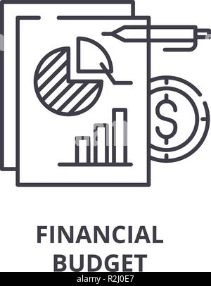 Financial budget line icon concept. Financial budget flat