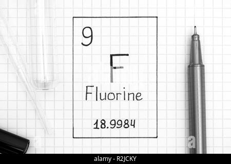 The Periodic table of elements. Handwriting chemical