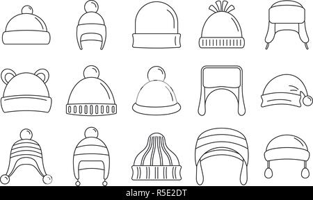 Winter cold hat icon. Outline winter cold hat vector icon