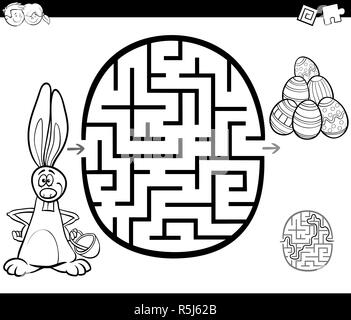 Easter labyrinth game, maze and coloring the eggs