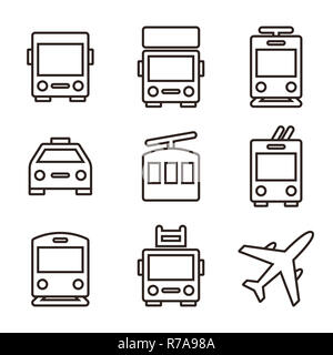 Passenger train car icon, outline style Stock Vector Art