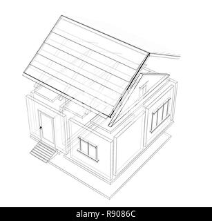 Modern house blueprint. White outline of home on a blue