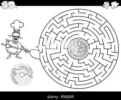 cartoon maze activity with chef and pizza Stock Photo