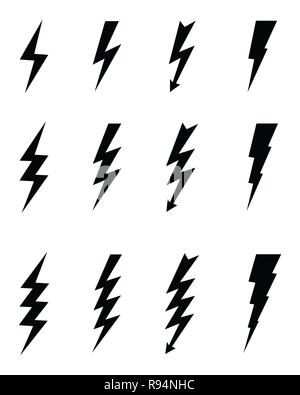 Icon with spark, lighting bolt symbol for electrical