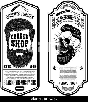Barber shop flyer template. Barber's skull and tools on