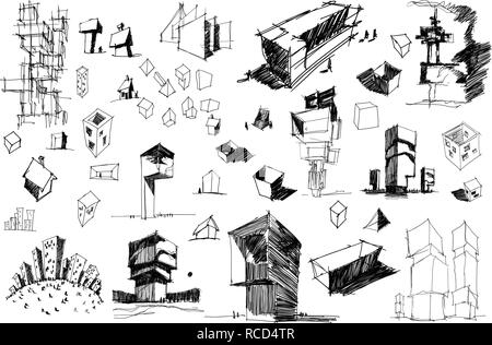 Cartoon Abstract City illustration with Many Buildings and