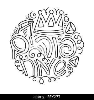 Purim greeting card and coloring page in linear doodle