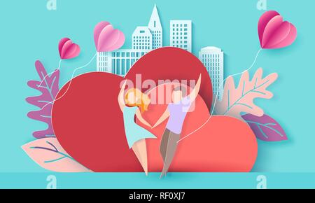 Download Romantic couple with balloons. Girl in a hat closing her ...