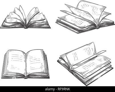 open book hand drawn sketch Stock Vector Art