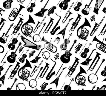 set musical instruments pattern background vector
