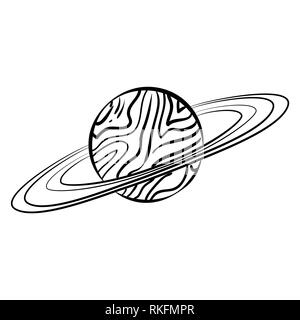 Solar system doodle. Vector planets drawing for school