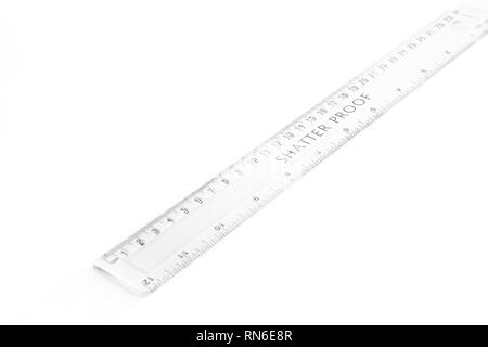 inch and centimeter measurement ruler isolated on white