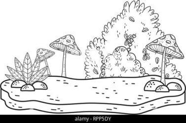 beautiful garden bush and fungus landscape scene Stock Vector Image & Art Alamy