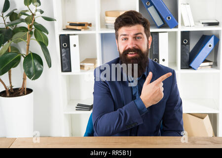 Man Bearded Hr Manager Sit In Office Ask Interview Job