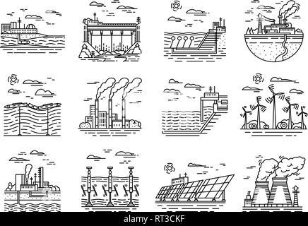Energy production flat line icons set Stock Vector Art
