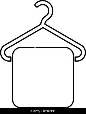 Clothes hanging on the rack icon, cartoon style Stock