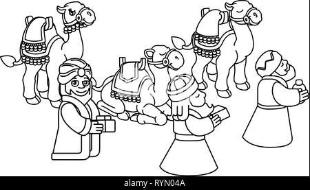 manger cartoon wise king christmas celebration, outline