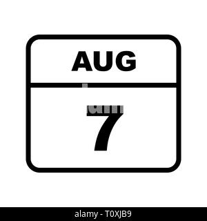 August 7th Date on a Single Day Calendar Stock Photo