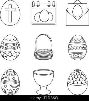 Set of Egg Hunt icon. Easter Egg label on white Background