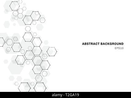 Abstract hexagonal molecule background, genetic and