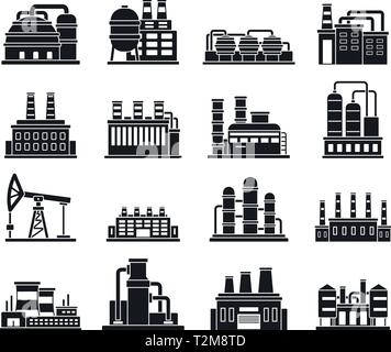 Chemical industry icons set, simple style Stock Vector Art