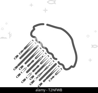 Black and white outline illustration of jellyfish swimming