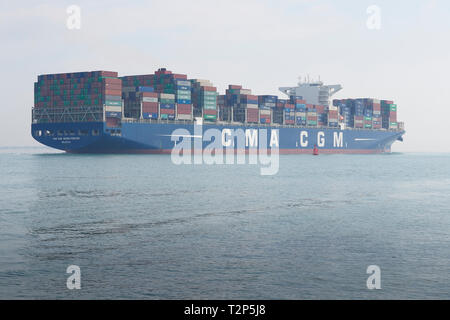 The Container Ship CMA CGM GEORG FORSTER. Underway. Leaving The Port Of Southampton. UK. 28 March 2019 Stock Photo - Alamy