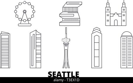 Outline Seattle Washington City Skyline with Color