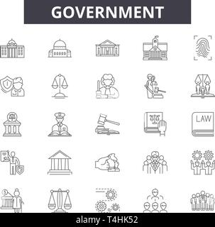 Corporate governance icons set, outline style Stock Vector