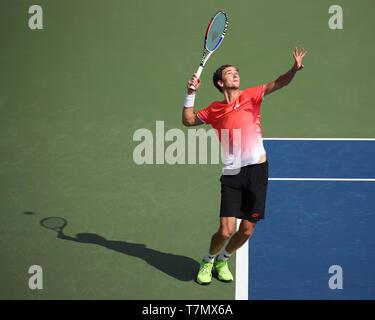 Russian tennis player Daniil Medvedev serving during Dubai ...