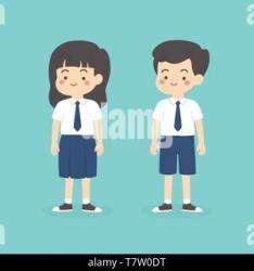 cartoon boy wearing uniform junior student indonesian vector secondary maseno alamy kenya