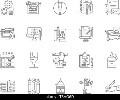 Set of Security Services Line Icons. Police, Protection