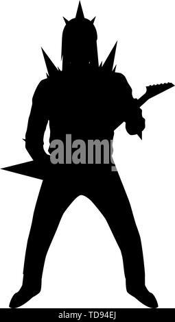 Viking Helmet Silhouette : viking, helmet, silhouette, Silhouette, Brutal, Guitarist, Viking, Helmet, Isolated, White, Background, Stock, Vector, Image, Alamy