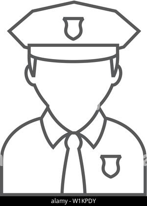 Police cap icon in outline design isolated on white