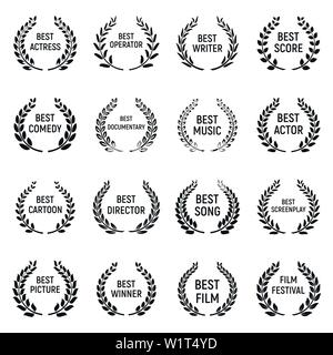 Cinema movie premiere icons set, cartoon style Stock
