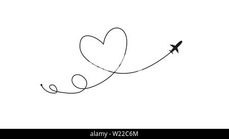 Plane and its track in the shape of a heart on white