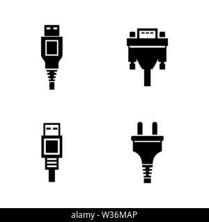 VGA port icon. Vector illustration, flat design Stock