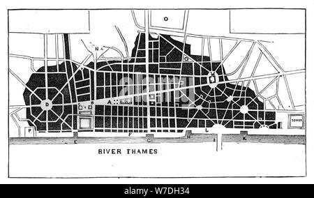 View of london before and after the 1666 Great fire Stock