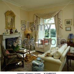 Images Of Small Country Living Rooms Remodeling Room Walls Cream Armchair And Sofas In French With Wood Sofa Swagged Curtains On Windows