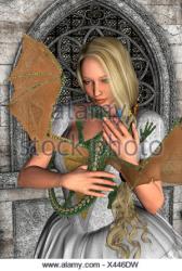 3d fantasy dragon render fairy little castle blonde alamy tale holding digital similar
