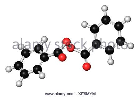 Benzoyl peroxide acne treatment drug molecule Also used to