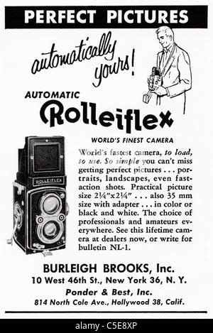Werbung, Fotografie, Kameras, Rolleiflex, Anzeige