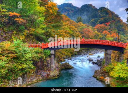 Japanische Brcke und Tempel Garten im Herbst Daigoji