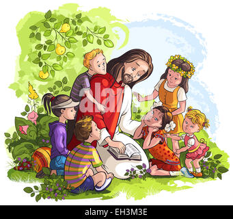 Jesus Lesen der Bibel fr Kinder Christian Cartoon