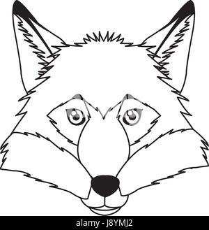 Fox-Vektor-Maskottchen-Symbol. Kopf und Schnauze oder