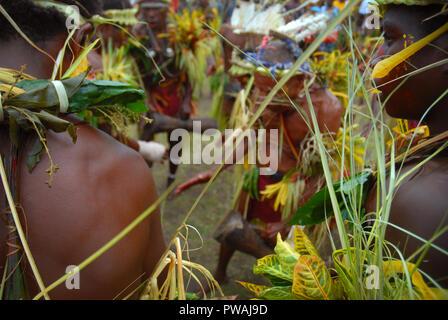 Frauen in Grass Rcke Kastom traditionelle Kultur tanzen in Yakul Dorf Insel Tanna Vanuatu