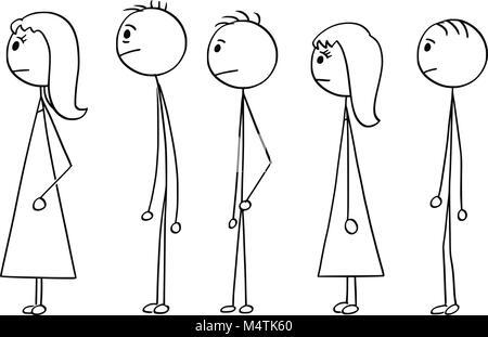 Caricature de la ligne de gens qui attendent dans la file